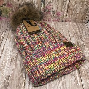 C.C Knitted Tone Hat With Fuzzy Lining